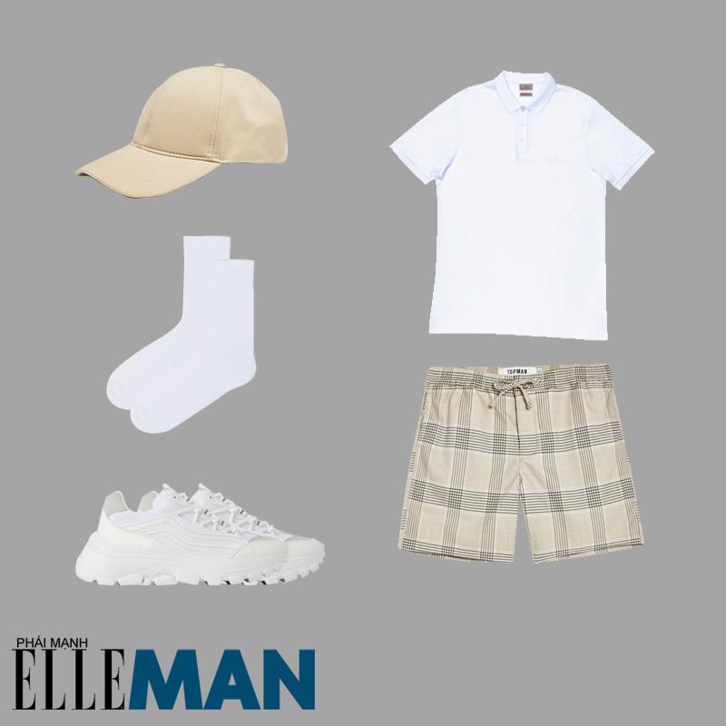 phong cách Sơn Tùng MT-P từ Hãy trao cho anh quần đùi kẻ caro áo polo giày trắng