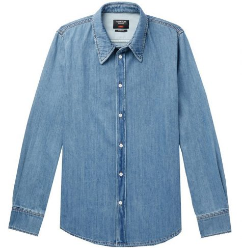 áo denim nam-Calvin Klein Jaws Printed Denim Shirt