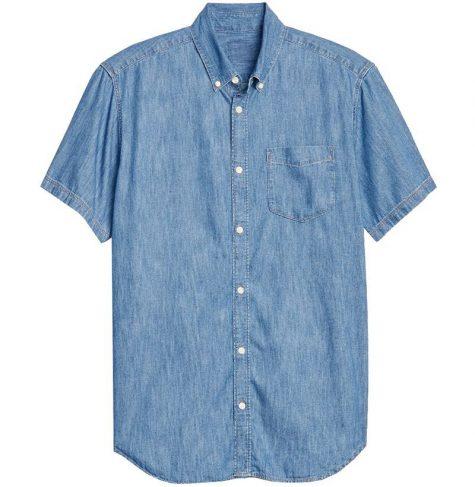áo denim nam-Gap Wearlight Denim Short Sleeve Shirt