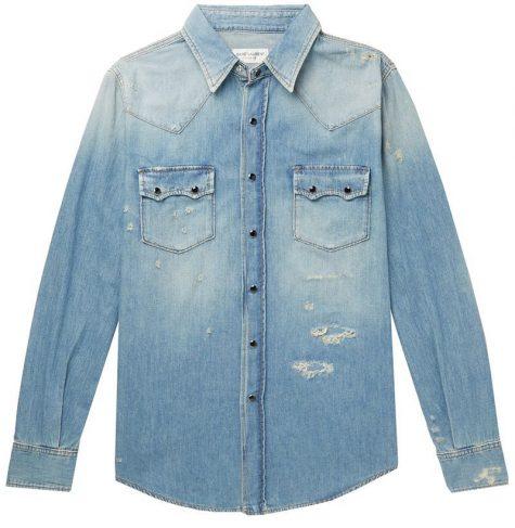 áo denim nam-Saint Laurent Distressed Denim Shirt