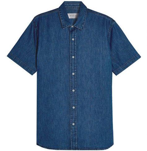 áo denim nam-Topman Rigid Denim Shirt