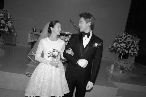 Bi Rain cùng vợ Kim Tae-hee tại lễ cưới