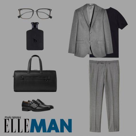 phong cách thời trang business casual áo blazer và quần xám áo thun đen kính cận đen