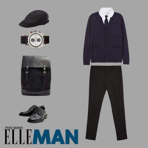 phong cách thời trang business casual áo cadigan áo sơ mi trắng nón đồng hồ ba lô đen