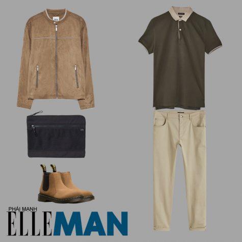 phong cách thời trang business casual áo polo xanh quần chinos áo khoác bomber