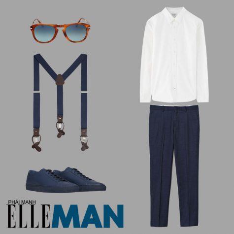 phong cách thời trang business casual áo sơ mi trắng quần dài và giày màu nany xanh