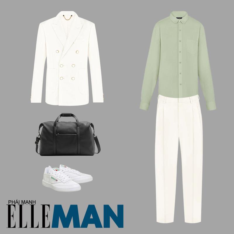 Phối đồ theo tông màu pastel áo sơ mi xanh quần trắng blazer trắng