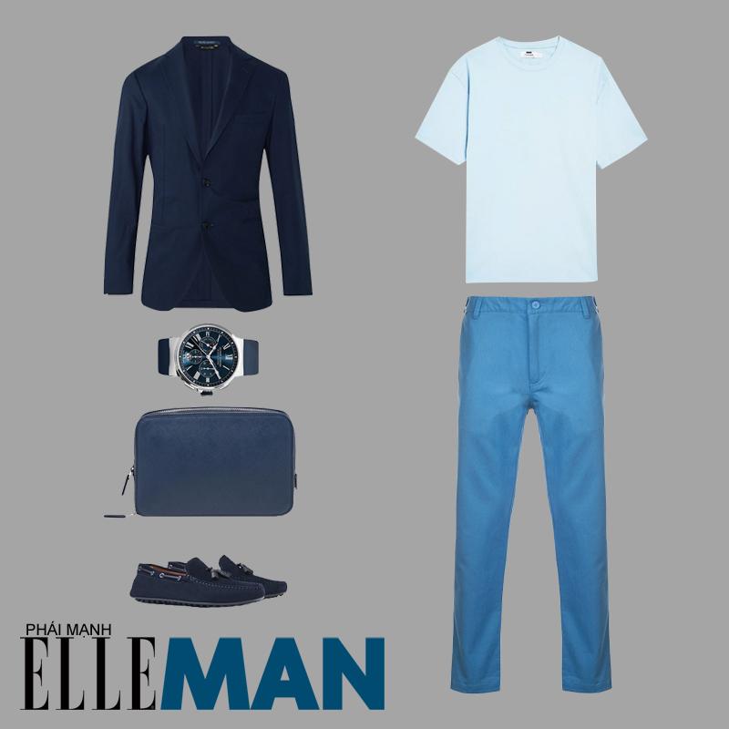 phối đồ theo tông màu pastel áo xanh quần xanh giày loafer