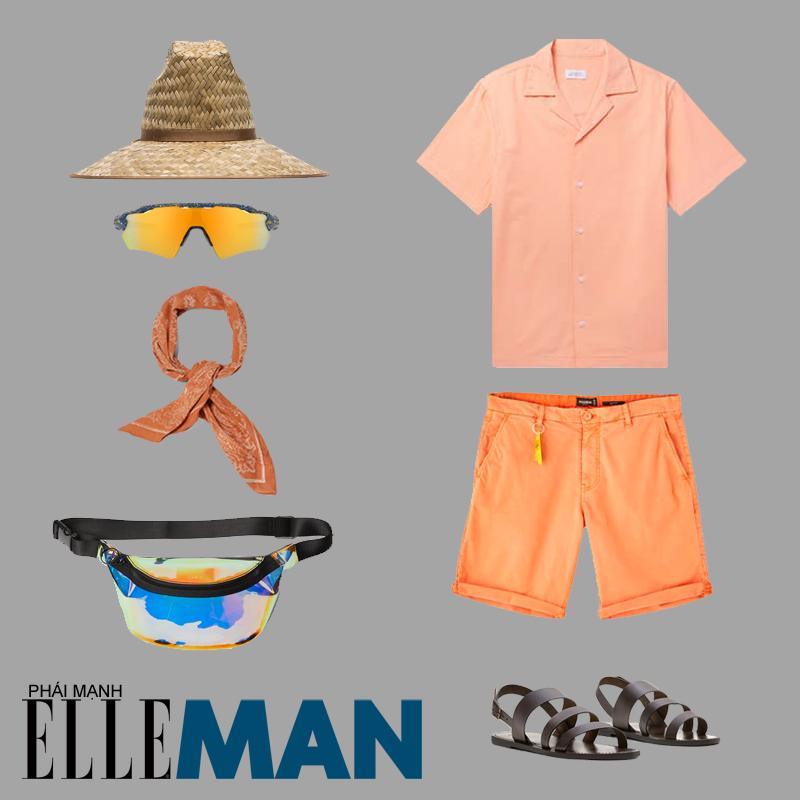 phối đồ theo tông màu pastel dành cho nam áo sơ mi cam mũ cói giày sandals
