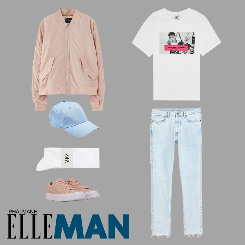 phối đồ theo tông màu pastel giành cho nam giới áo khoác bomber hồng áo thun trắng và quần jean