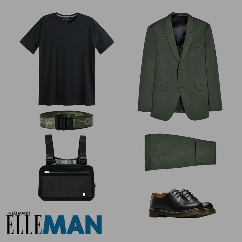 thời trang quân đội áo suit quần xanh áo thun đen