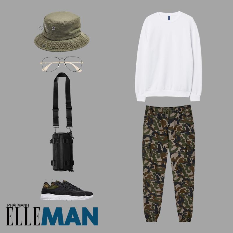 thời trang quân đội áo sweater trắng quần camo nón bucket xanh