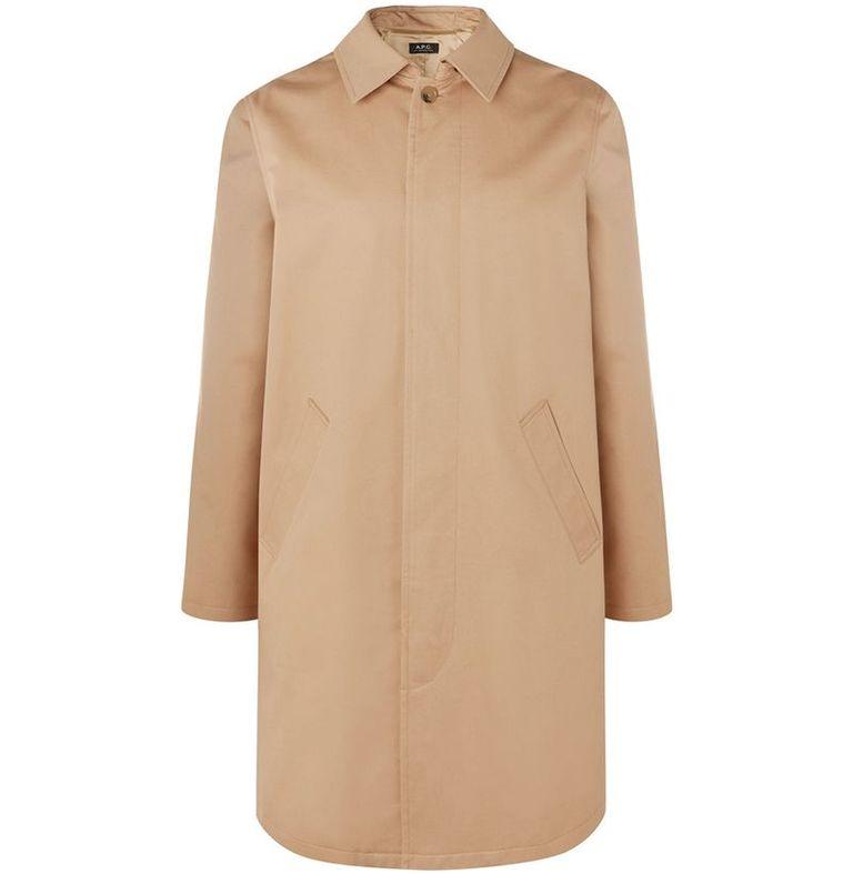 mẫu áo khoác nam A.P.C. Cotton-Twill Mackintosh Coat