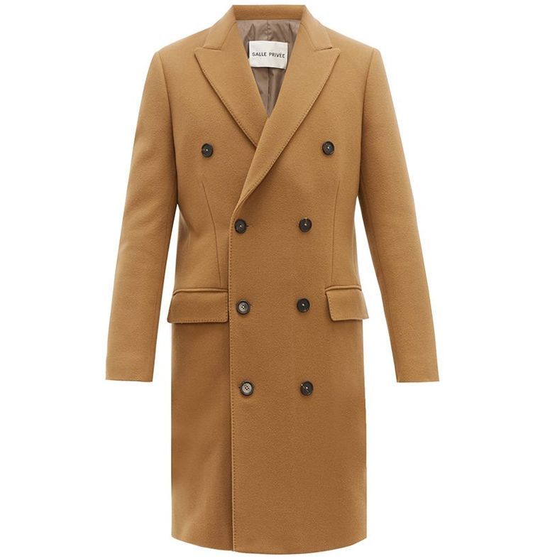mẫu áo khoác nam Salle Privée Ives Double-Breasted Overcoat