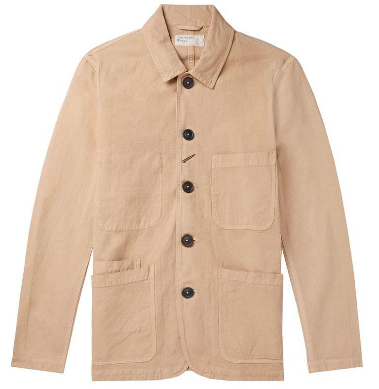 mẫu áo khoác nam Universal Works Baker Linen and Cotton-Blend Canvas Jackett
