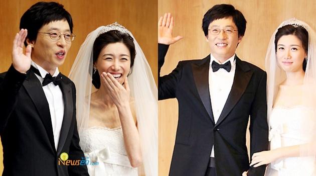 MC Yoo Jae-suk và vợ Na Kyung Eun