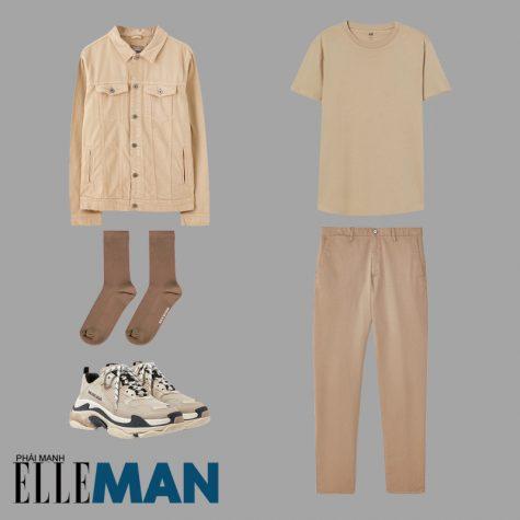 phối đồ gam màu beige áo thun áo khoác jean quần chinos