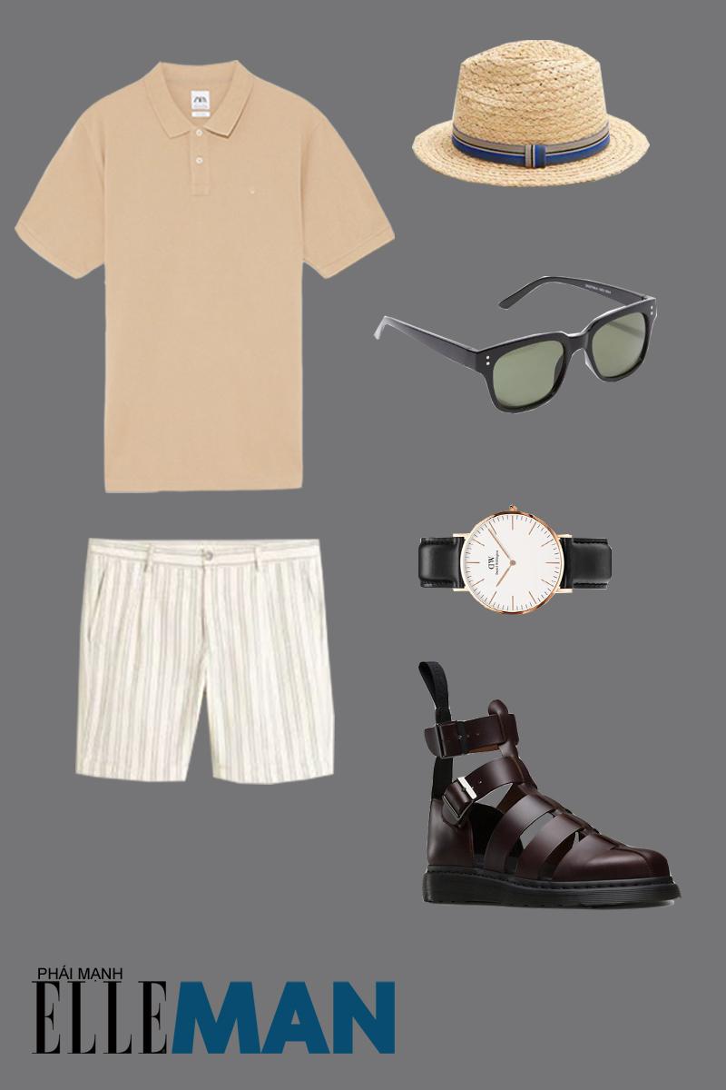 outfit 1 - giày chiến binh nam theo phong cách nghỉ mát
