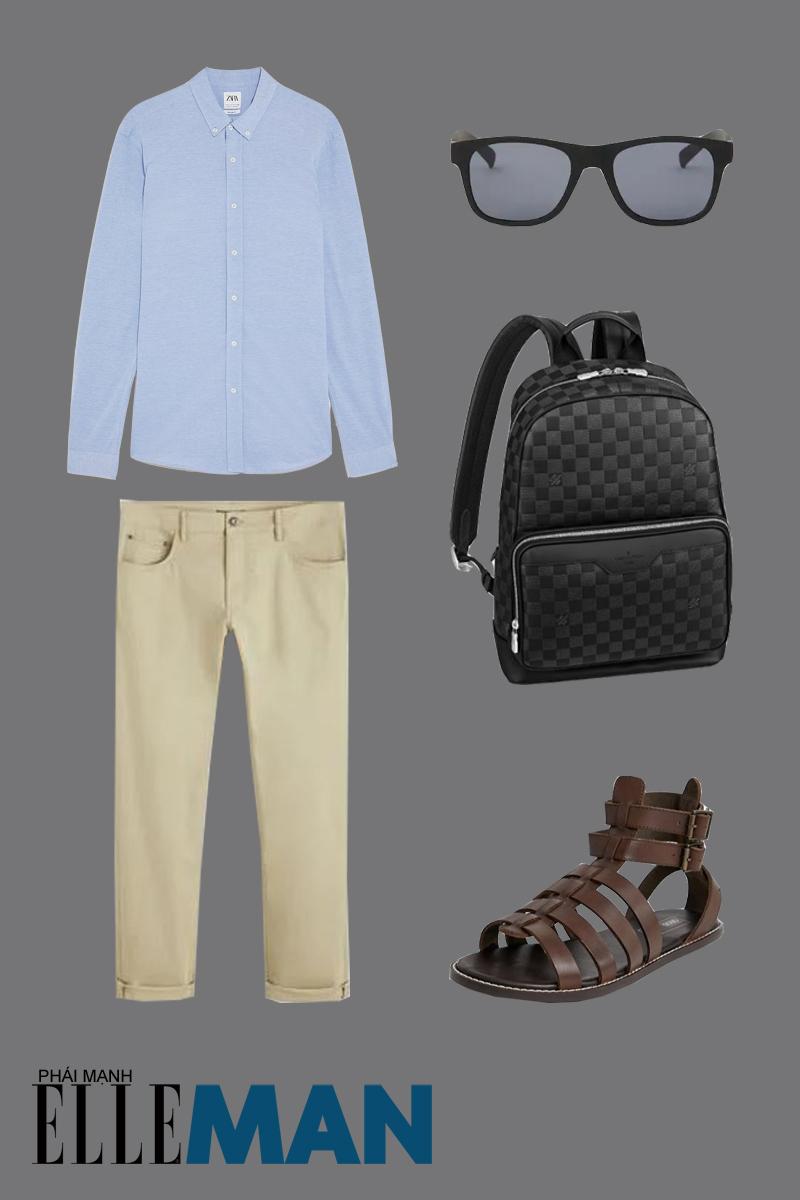 outfit 3 - giày chiến binh nam với áo sơ mi