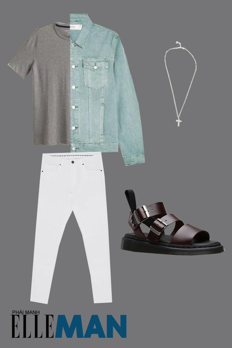 outfit 4 - giày chiến binh nam với áo khoác denim
