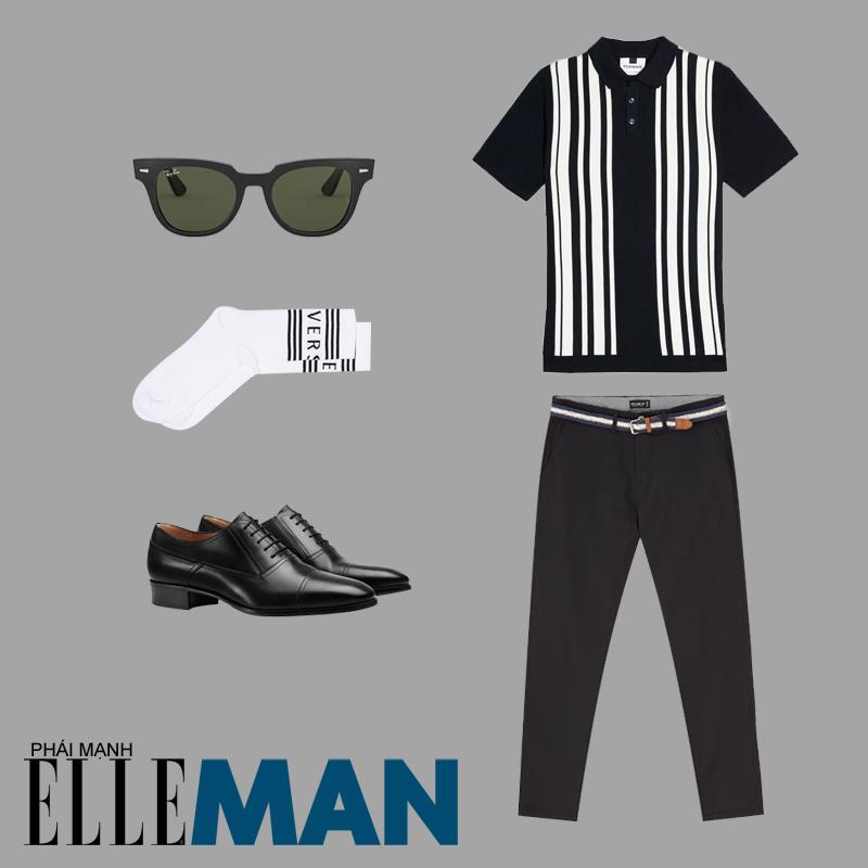 phong cách thời trang mod áo polo quần đen tất trắng