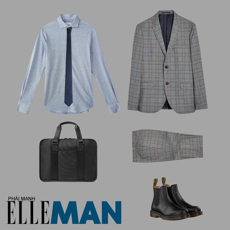 phong cách thời trang mod áo sơ mi xanh vest xám