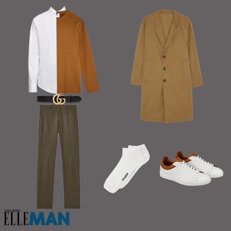 outfit 1 - cách phối trang phục màu nâu đất có áo trench coat