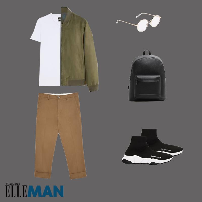 outfit 2 - cách phối trang phục màu nâu đất có áo bomber