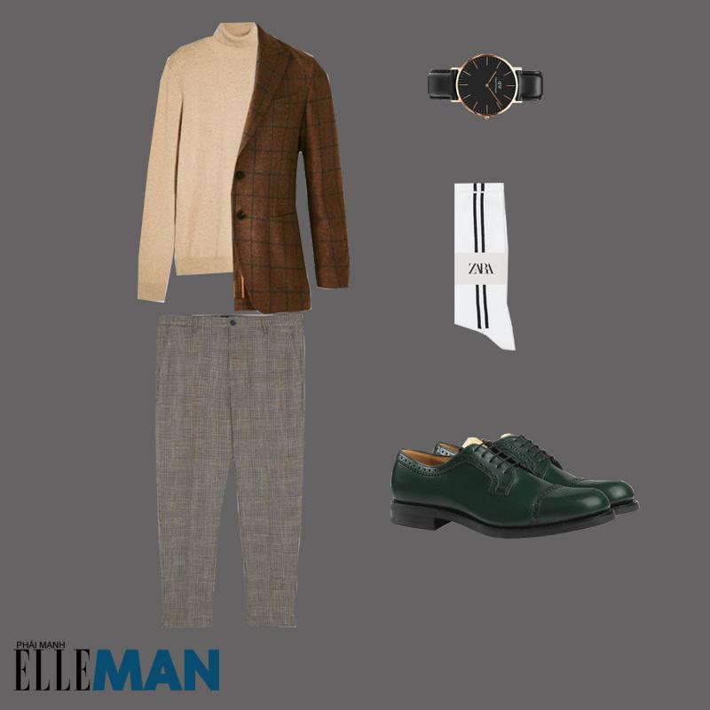 outfit 3 - cách phối trang phục màu nâu đất có áo blazer