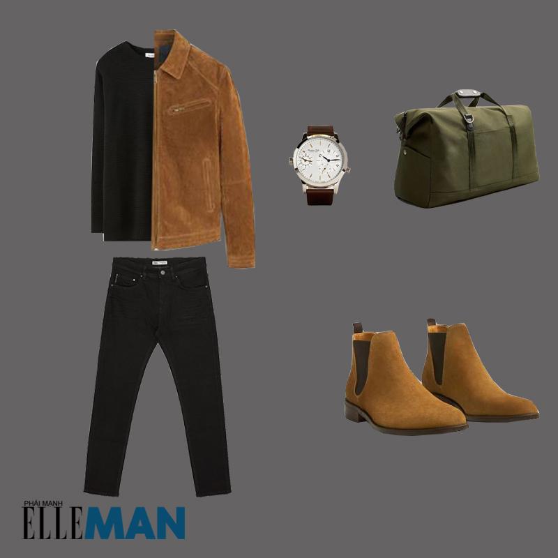 outfit 5 - cách phối trang phục màu nâu đất có giày chelsea