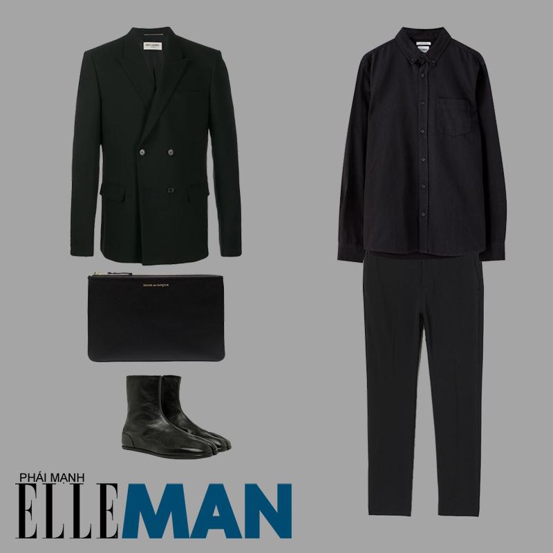 phong cách monochrome áo sơ mi áo blazer túi clutch
