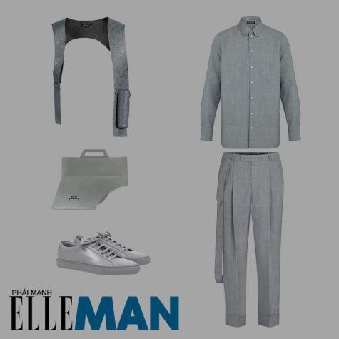 phong cách monochrome áo sơ mi quần tây harness túi