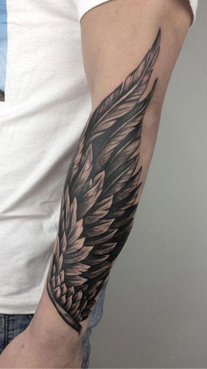 hình ảnh đôi cánh được xăm trên cánh tay - hình xăm nam giới - elle man