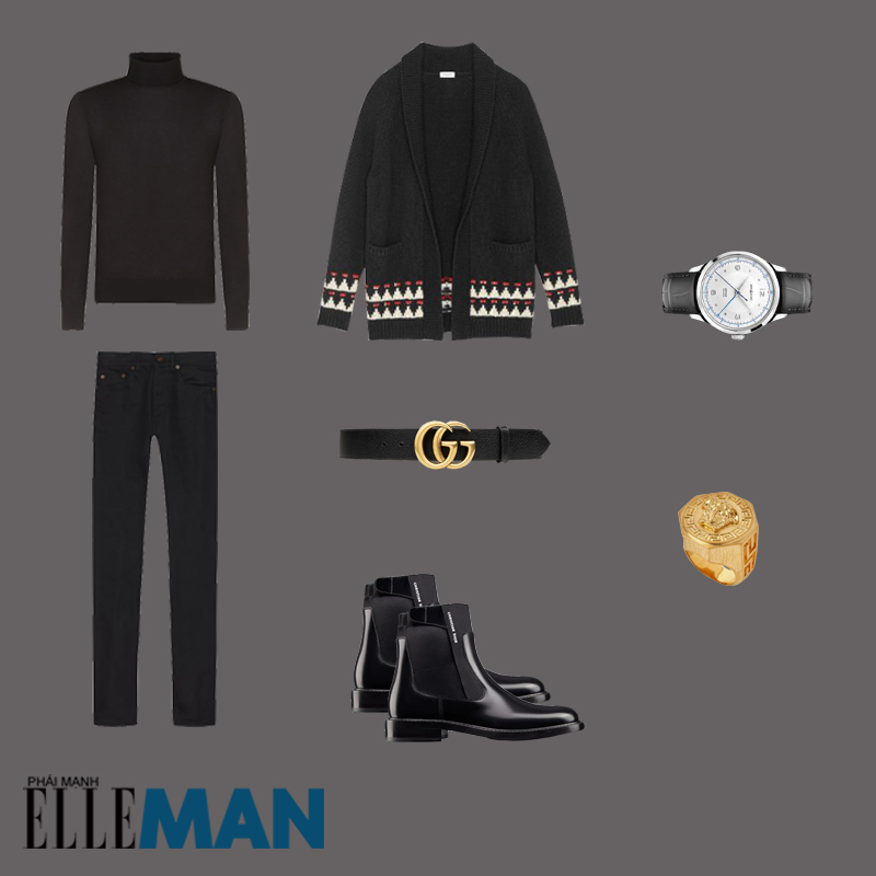 outfit 1 - phối áo cardigan nam