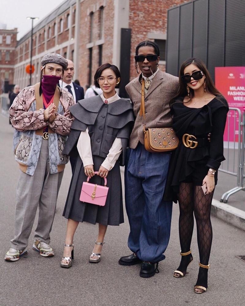Cặp đôi Châu Bùi và Decao chụp hình chung với Tiên Nguyễn và rapper nổi tiếng A$AP Rocky