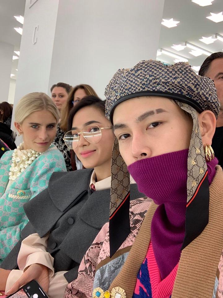 Cặp đôi Châu Bùi & Decao xuất hiện trên hàng ghế đầu cùng blogger nổi tiếng Caroline Daur