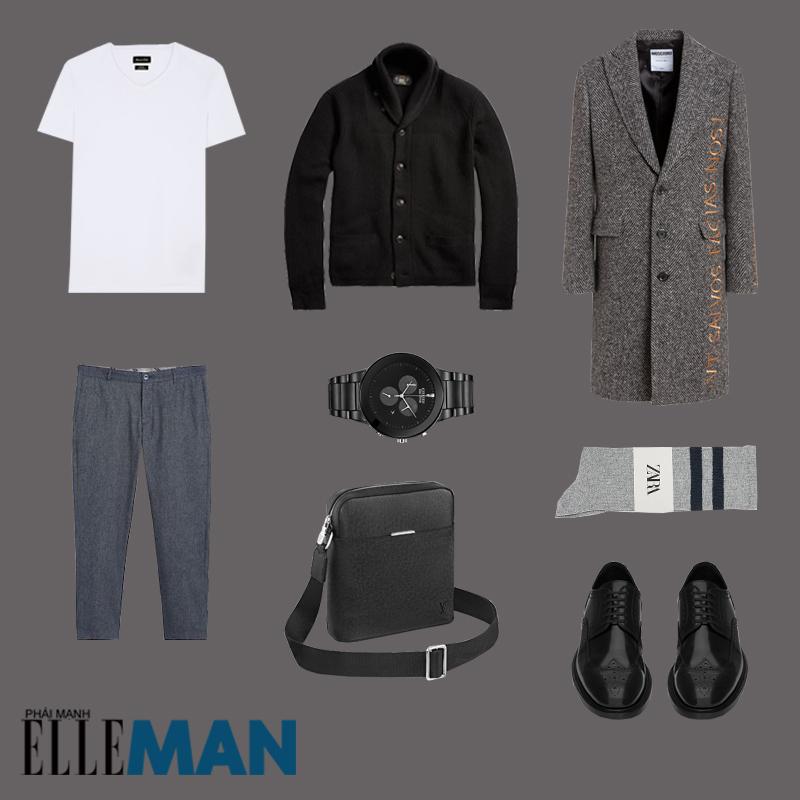 outfit 3 - phối áo cardigan nam