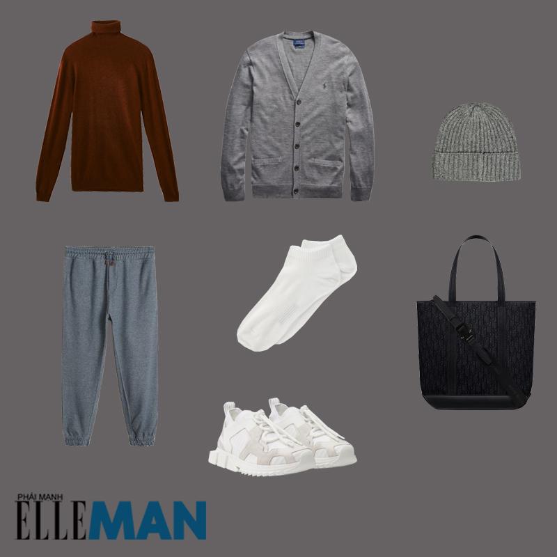 outfit 4 - phối áo cardigan nam