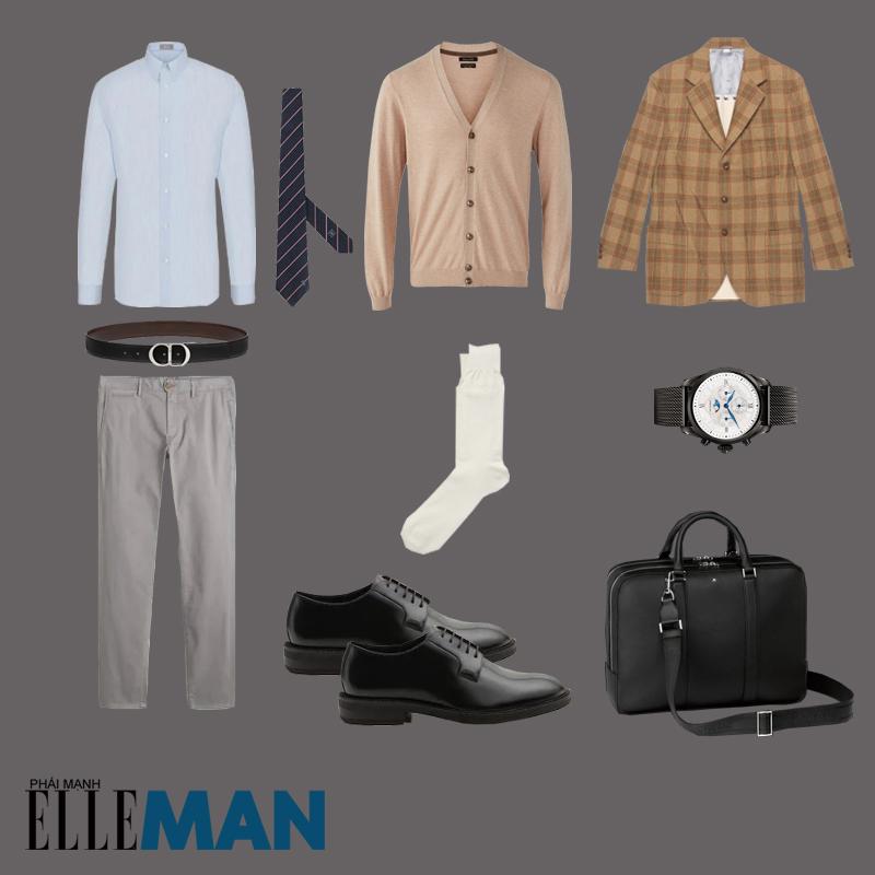outfit 5 - phối áo cardigan nam