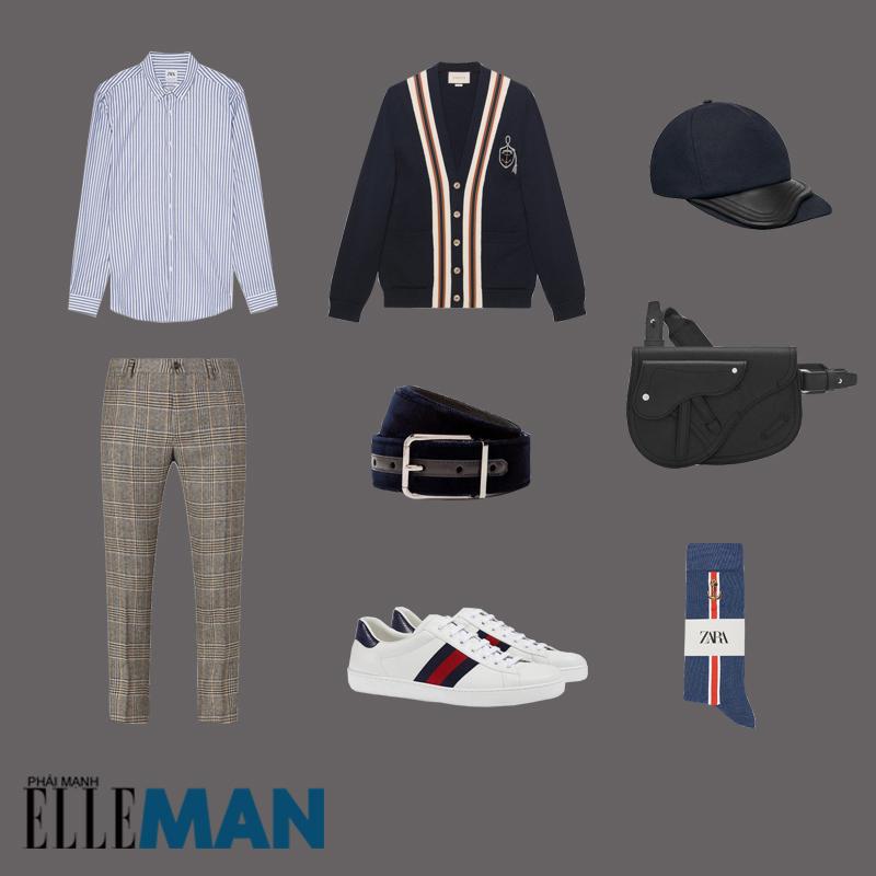 outfit 2 - áo cardigan nam