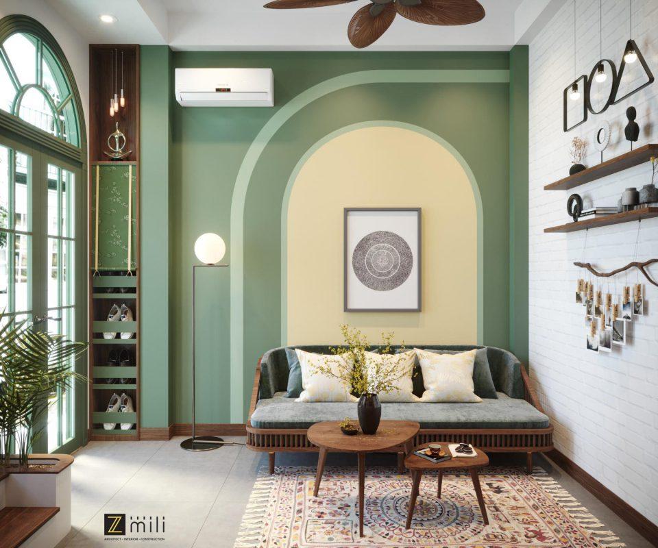 Tông màu xanh pastel hơi hướng tropical được sử dụng trong không gian nội thất phong cách Đông Dương chủ đạo
