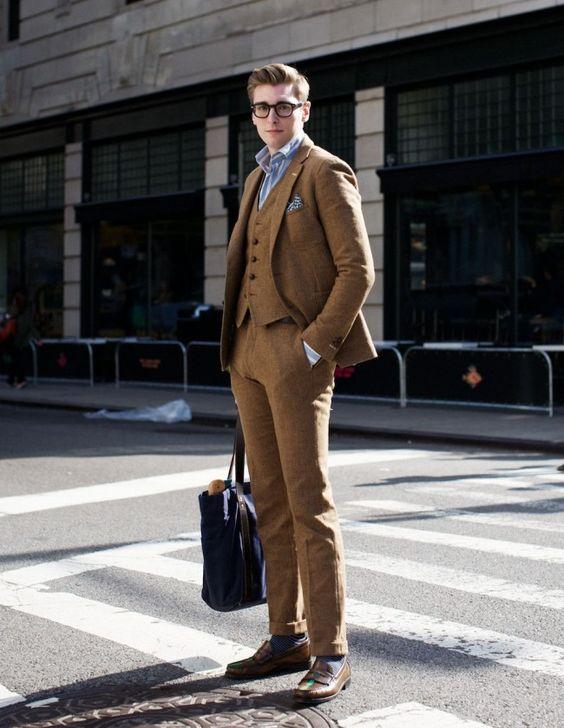 chất liệu vải tweed màu nâu dành cho nam