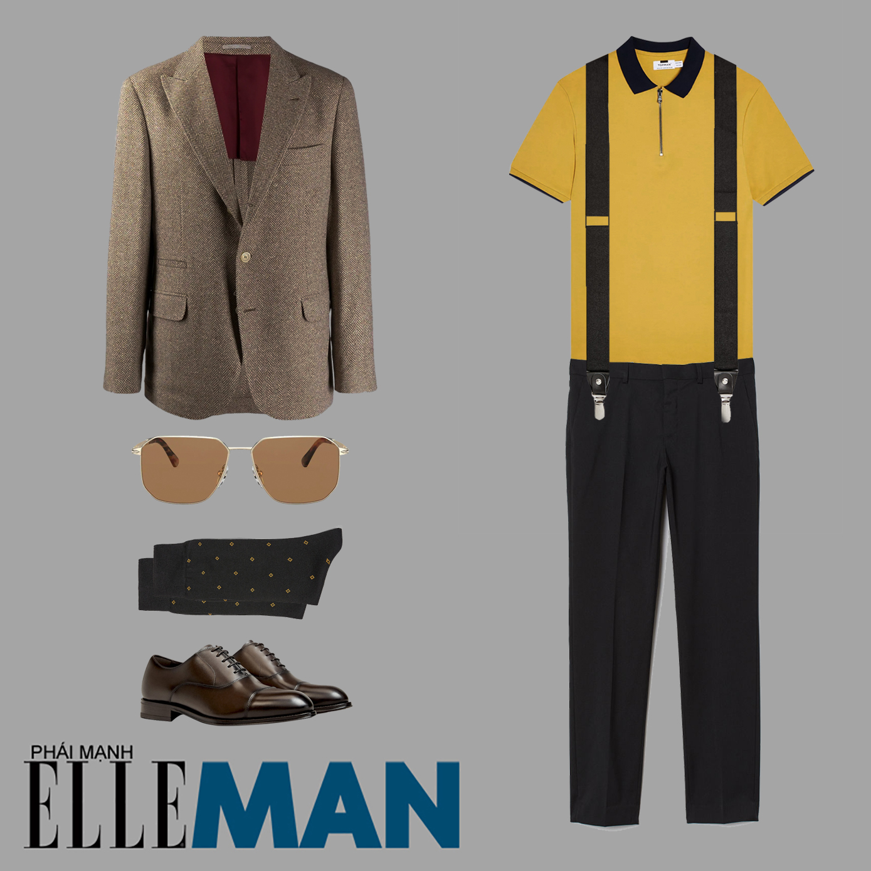 chất vải tweed giành cho nam áo polo vàng quần đen