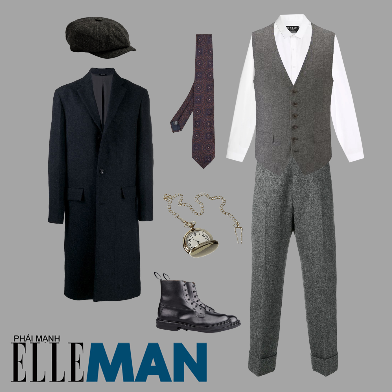 chất vải tweed giành cho nam overcoat đen sơ mi trắng