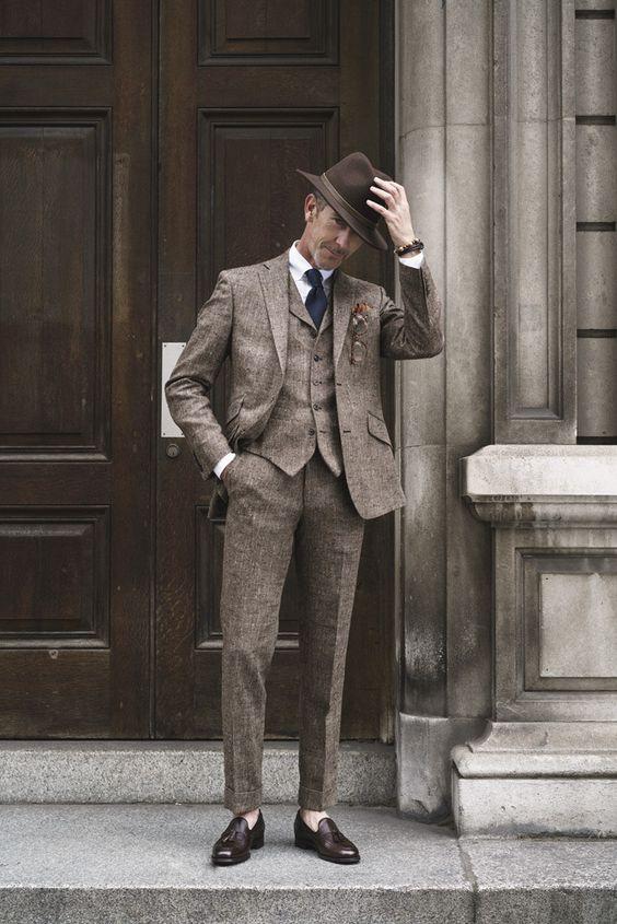 suit bằng chất liệu vải tweed dành cho nam