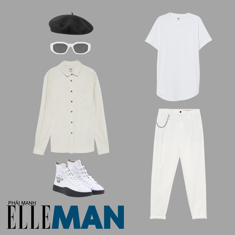 mũ beret nam đen sơ mi trắng quần trắng