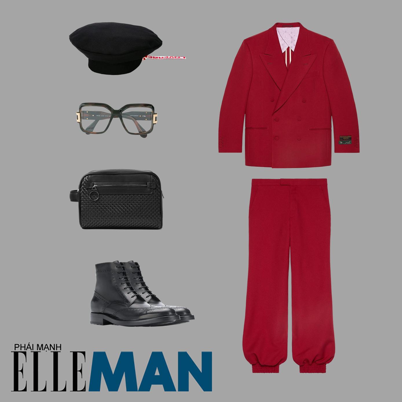 mũ beret nam đen vest đỏ quần đỏ boots đen