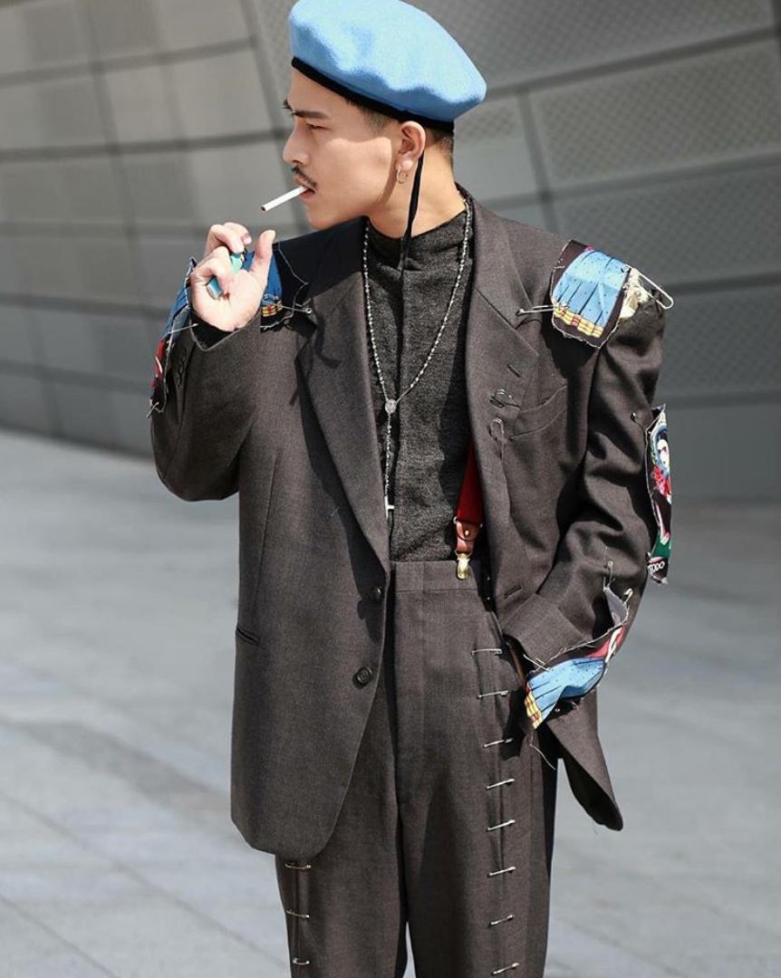 mũ beret nam màu xanh decao seoul fashion week