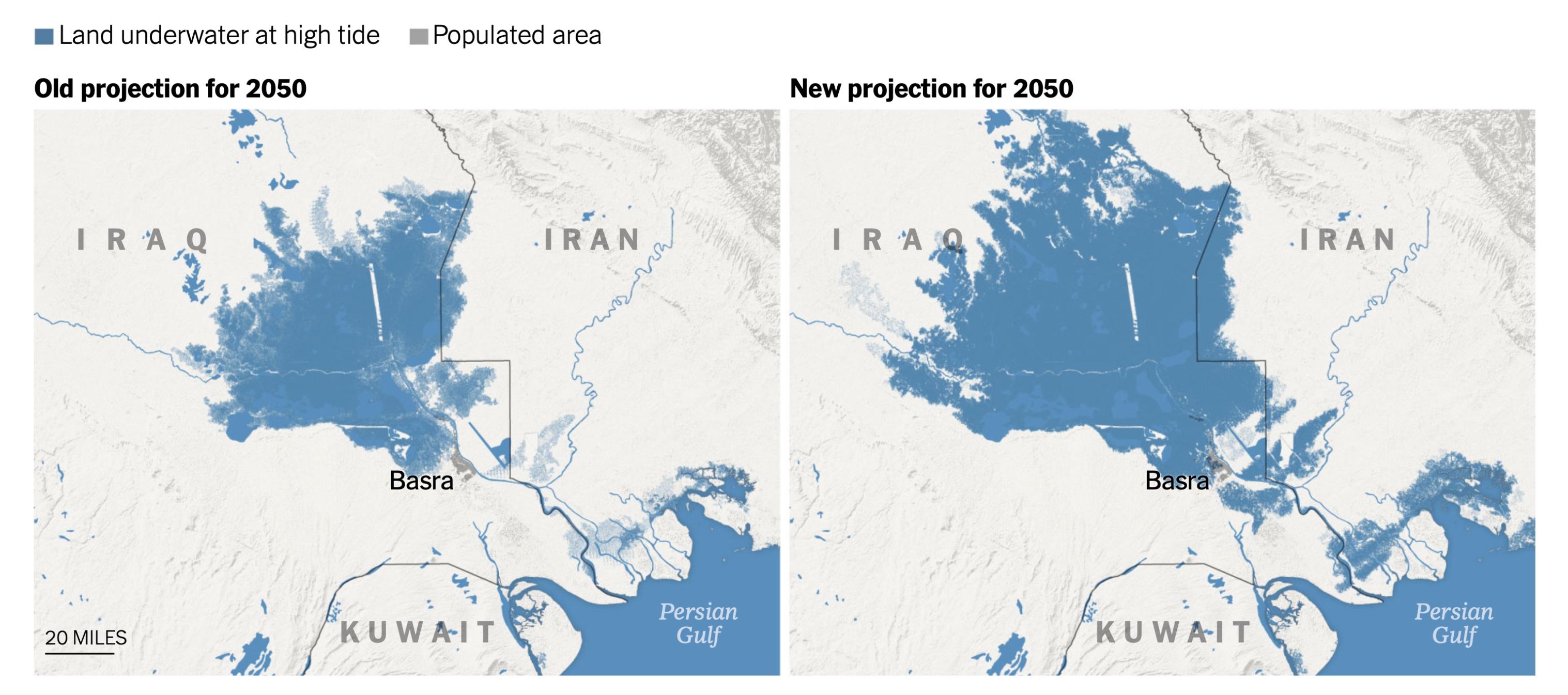 Thảnh phố Basra lớn thứ hai ở Iraq cũng sẽ hầu như bị nhấn chìm vào năm 2050