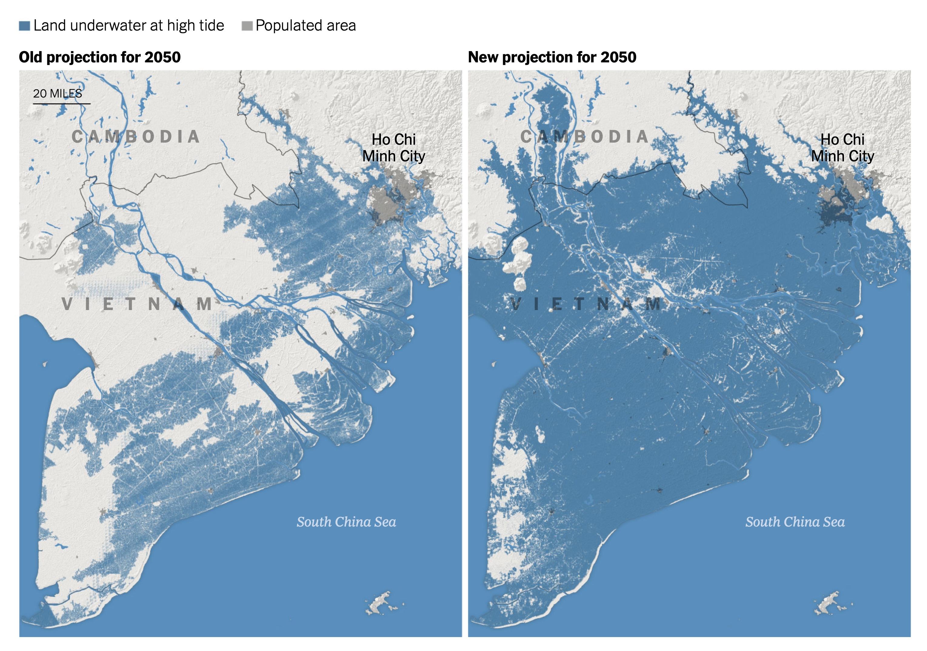 Thành phố Hồ Chí Minh bị ảnh hưởng trầm trọng bởi mực nước biển dâng cao trong năm 2050
